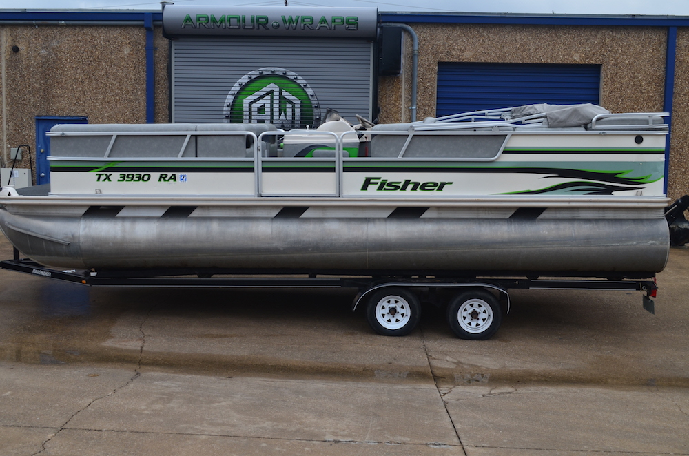 before pontoon boat wrap