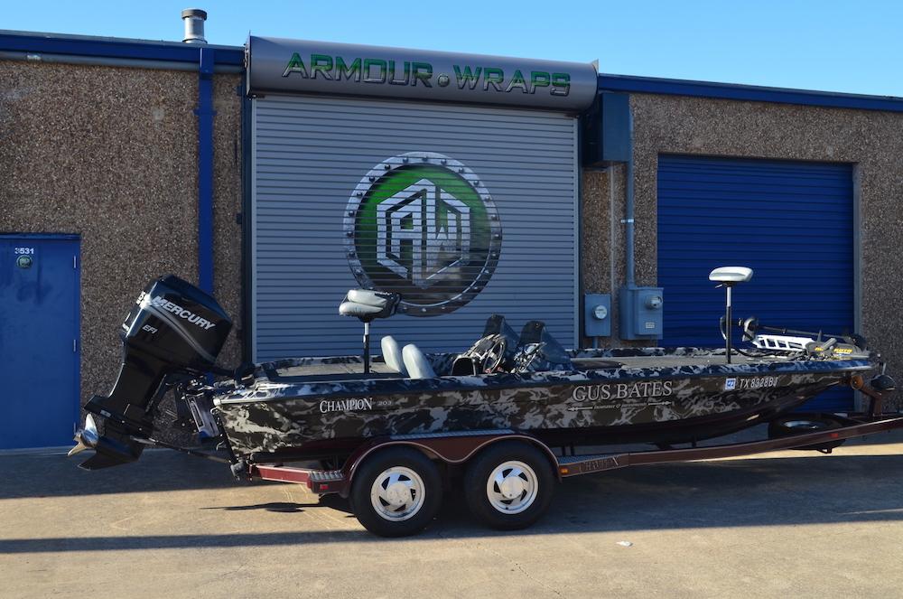 camouflage fishing boat wrap