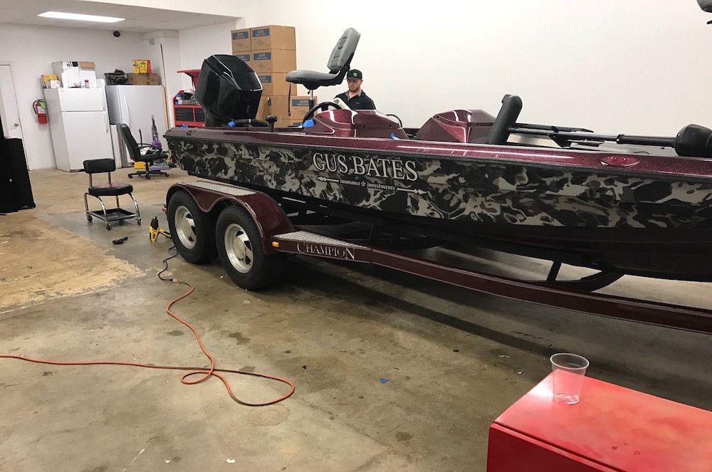 Camouflage Fishing Boat Wrap Boat Wraps In Fort Worth