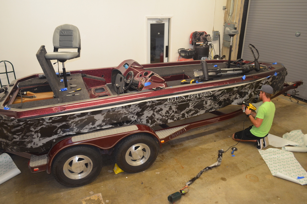 during camouflage fishing boat wrap