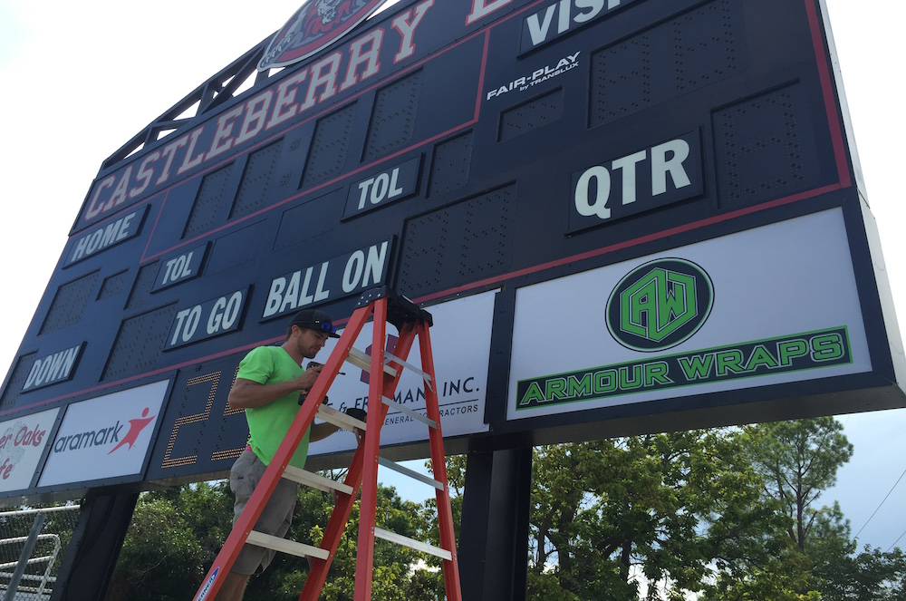 Custom Score Board Sign Armour Wraps
