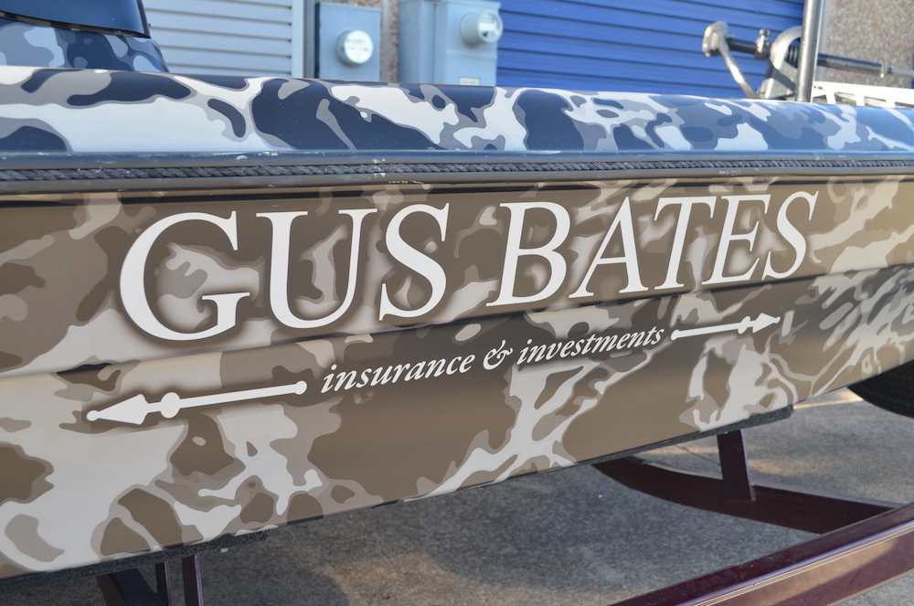 camouflage fishing boat wrap